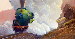 "Detail of ""Showing Off"" by Frank  Mitchell. Click to go to the Steam Train Art site"